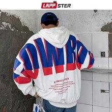 LAPPSTER Men 일본어 Streetwear 힙합 후드 2020 가을 한국 대형 스웨터 후드 후드 패치 워크 의류 5XL