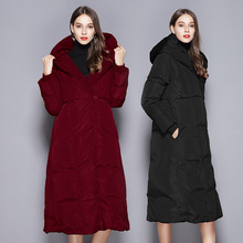 2018 winter warm white duck down slim thin hooded jacket womens long thicken overknee for women W79001
