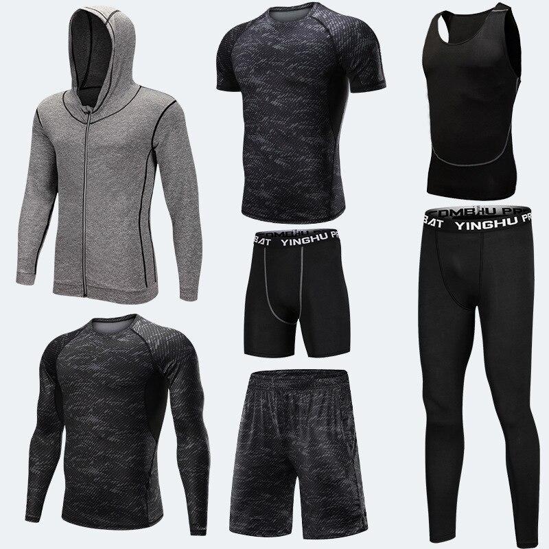 Vêtements d'entraînement en cours d'exécution hommes 7 pièces/ensembles ensembles de course à Compression collants de Jogging de basket-ball ensemble de sous-vêtements - 5