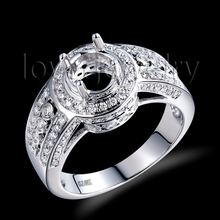 Natural Diamond Semi Mount Ring Solid 18Kt White Gold,Setting Ring Mounting Round 6.5mm For Sale SR0059