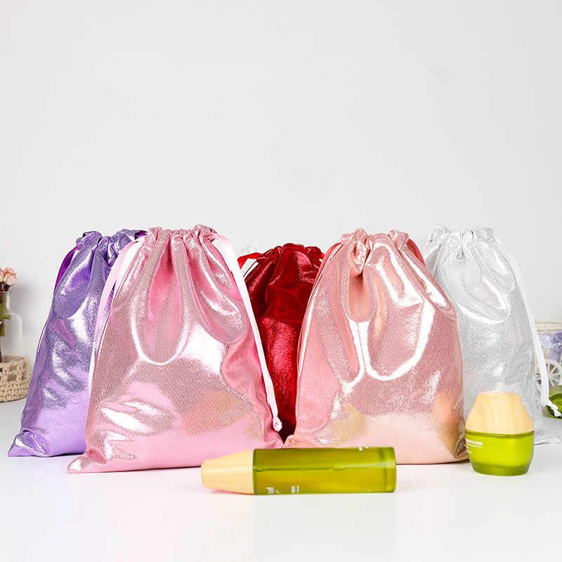 Mềm PU Da Sequin Màu Hồng Dây Kéo Pouch Túi/Trang Sức Túi Giáng Sinh/Quà Tặng Đám Cưới kẹo đóng gói Dây Kéo Pouch