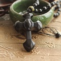 Drop Shipping Natural Black Obsidian Carving Crosses Lucky Amulet Pendant Necklace For Women Men pendants Jade Jewelry