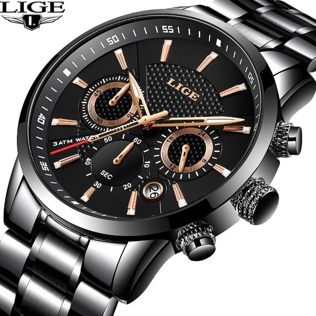 LIGE 2018 часы мужские модные спортивные кварцевые мужские часы, наручные часы брендовые Роскошные полностью стальные деловые водонепроницаемые часы Relogio Masculino