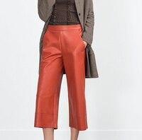 2015 Nuevas Mujeres de La Manera Genuina de Invierno cremallera lateral de Cuero de Imitación de Ladrillo de Ancho pierna Pantalones Cosechados 3/4 Pantalones Con Bolsillos
