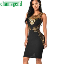 CHAMSGEND 2017 Sexy Women Summer Sheath Lace Bodycon Dress Slim Sleeveless Party Penci Knee-Lengthl Dress47