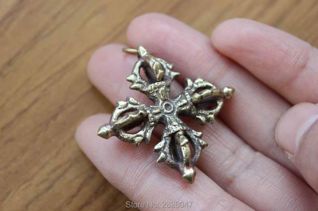 Pn935 тибетский серебряный крест Ваджра дорье амулет 35 мм ручной