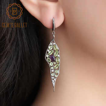 GEM'S BALLET 925 Sterling Sliver Vintage Palace Drop Earrings Natural Amethyst Peridot Gemstone Long Earrings For Women Jewelry - DISCOUNT ITEM  40% OFF All Category
