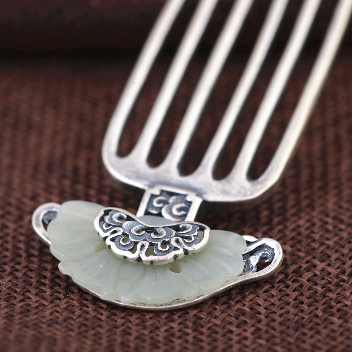 Takı ve Aksesuarları'ten Saç Takısı'de Taş Kakma Tay Gümüş Saç Tarak Vintage Çin Tarzı Gümüş Saç Tokası Şakayık Çiçek Saç Pin Takı saç aksesuarları WIGO1209'da  Grup 3