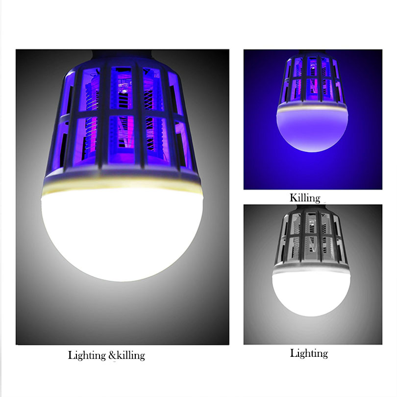 Efficient LED Bug Zapper Light Bulb Cleaning Mosquito Killer EU US 9W 15W Insect Trap Lamp Home Backyard E27 led Bulb Outdoor - 5