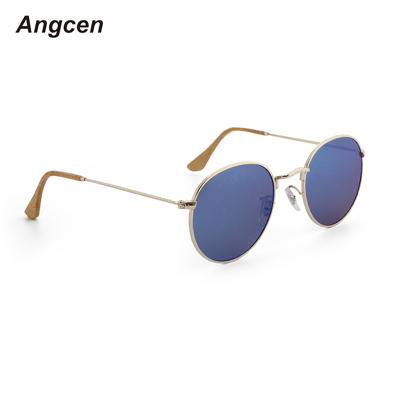 Angcen Sunglasses Women Polarized Round Retro Wooden Bamboo Sun Glasses Metal Frame Glasses For Women Uv400 Vintage Yewear