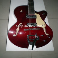 chinese electric guitars! guitarra F hole hollow body bgsby Jazz Electric guitar with Chrome plated burst pick guard in stock