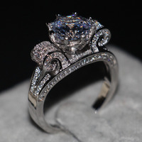 Romantic Jewelry Women Men Ring Round Cut 9mm 3ct Simulated Diamond Cz 925 Sterling Silver Lovers