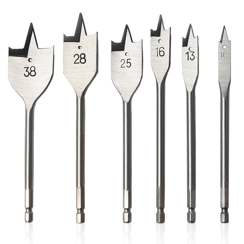 6pcs/set Flat Wood Drill Wood Flat Drill Set Hole Saw Cutter Woodworking Tools for Wood Size 10mm/13mm/16mm/25mm/28mm/38mm bosch 2608597205 wood drill 24x140x210 mm