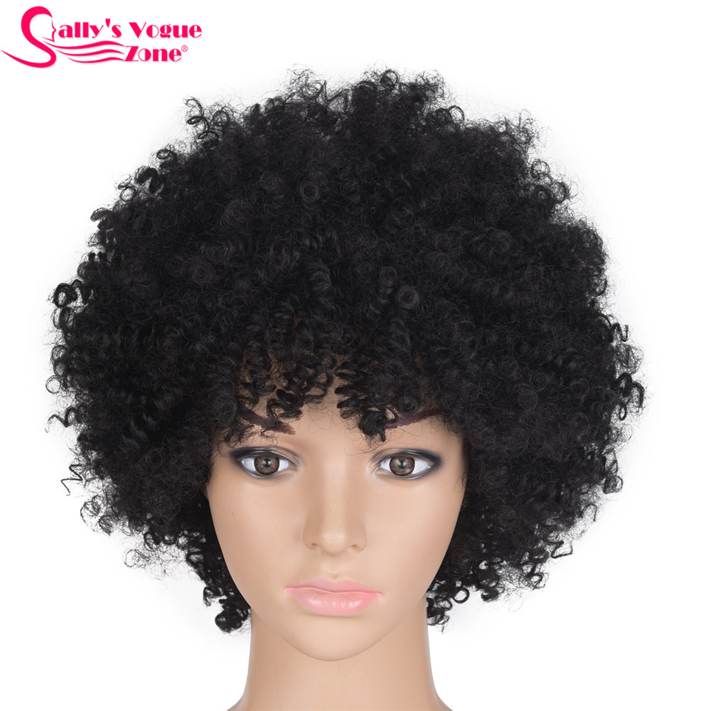 Sallyhair High Temperature Synthetic Black Afro Wigs Kinky Curly Natural Black Color Short Synthetic America Wig Average Size
