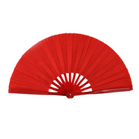 Costillas de bambú CALIENTE-Plegable Rojo Borde Aleteo Chinese Folk Dancing Danza Ventilador De La Mano 2 Unids
