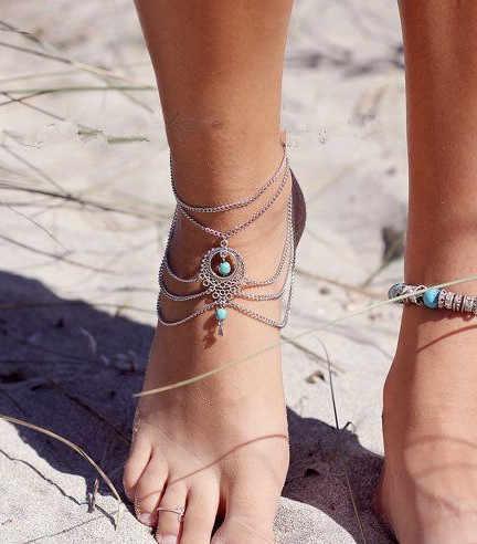 Rất nhiều 2 Cái Boho Tộc Hạt Barefoot Sandal Vòng Chân Chic Multilayer Tassel Foot Chuỗi Vòng Chân Vòng Đeo Tay Đồ Trang Sức Cơ Thể