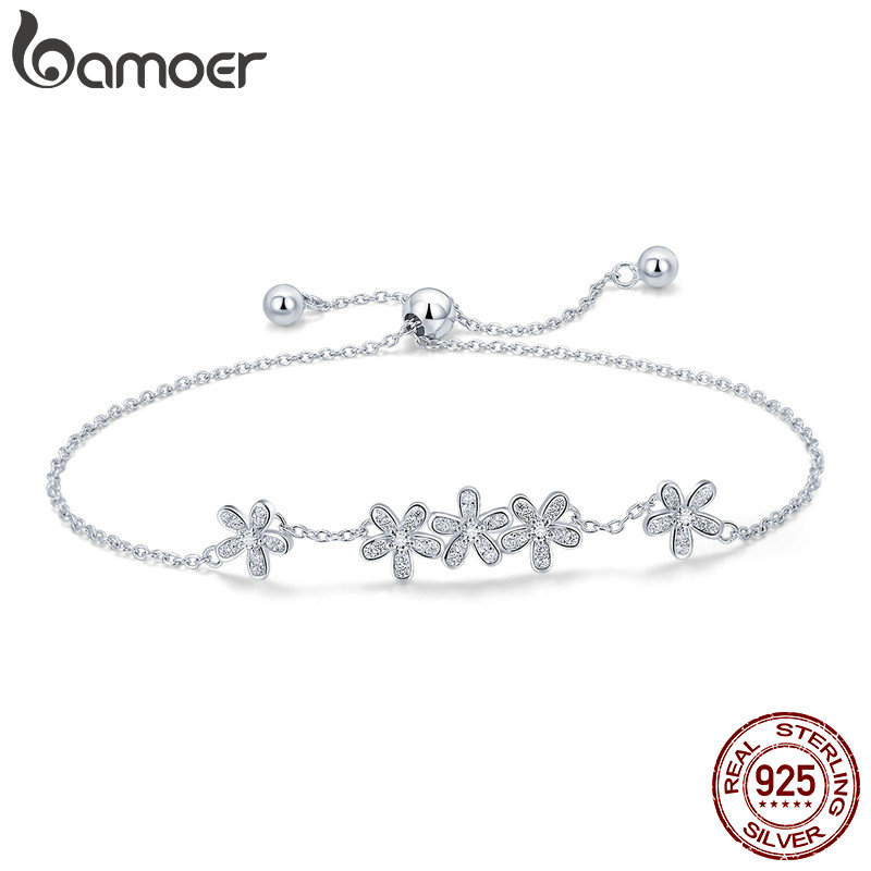 BAMOER Genuine 925 Sterling Silver Luminous Daisy Flower Women Bracelets Clear CZ Fashion Bracelet Jewelry Making Gift SCB084BAMOER Genuine 925 Sterling Silver Luminous Daisy Flower Women Bracelets Clear CZ Fashion Bracelet Jewelry Making Gift SCB084