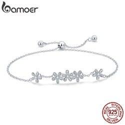 BAMOER Genuine 925 Sterling Silver Luminous Daisy Flower Women Bracelets Clear CZ Fashion Bracelet Jewelry Making Gift SCB084