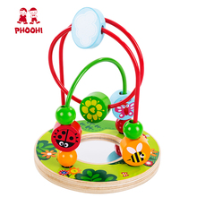 Baby Wooden Bead Maze Children Early Educational Roller Coaster Mirror Toy For Toddler PHOOHI цена в Москве и Питере