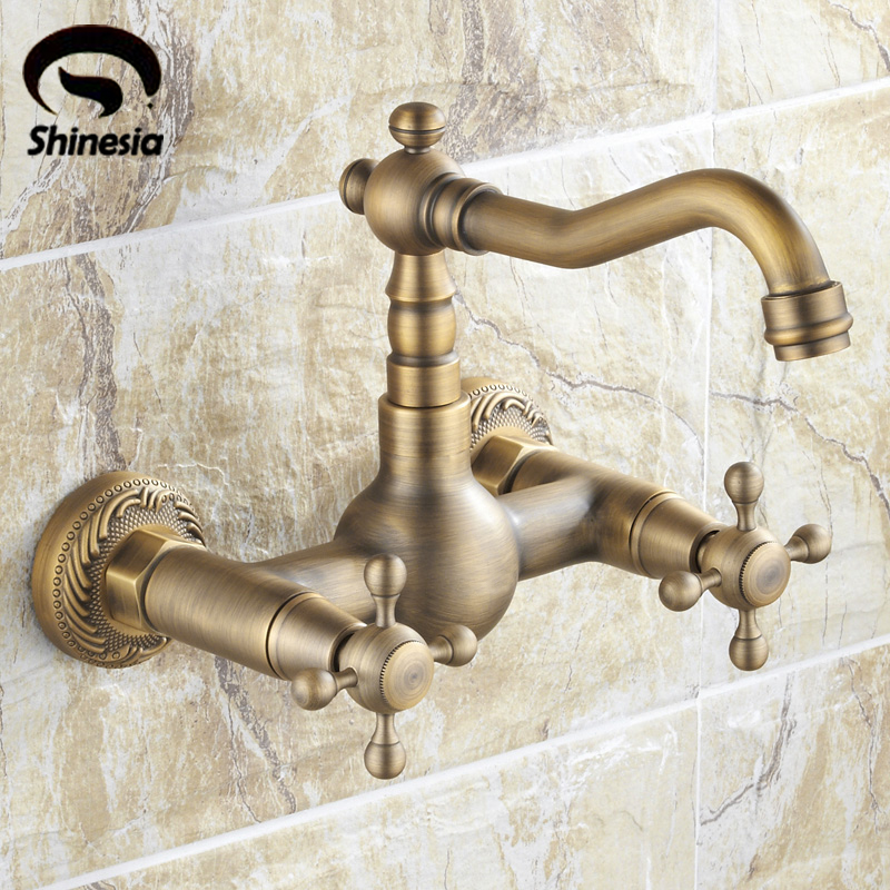 Antique Brass Wall Mounted Bathroom Sink Faucet Swivel Spout Bathtub Mixer Dual Handles wall mounted bright chrome bathtub sink faucet two cross handles bathroom handheld shower mixers swivel tub spout