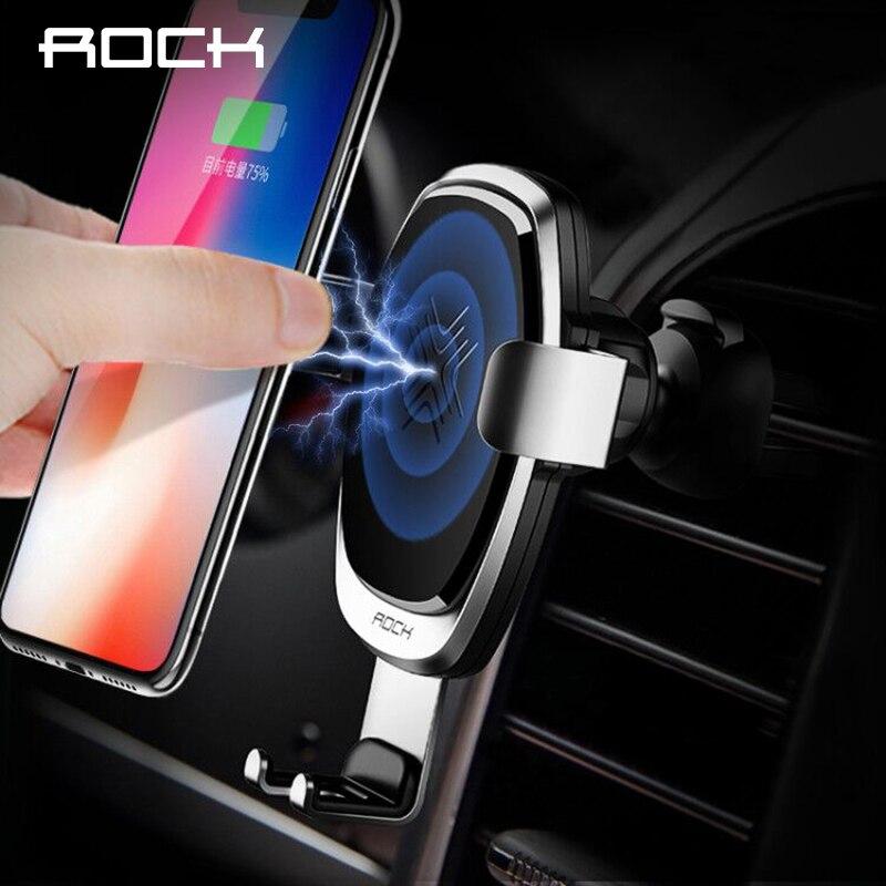 ROCK 10 w Titular Da Gravidade Rápido QI Sem Fio Carregador de Carro para o iphone X 8 Plus Samsung Galaxy S8 S7 Nota 8 Quick Charge Carregamento Monte