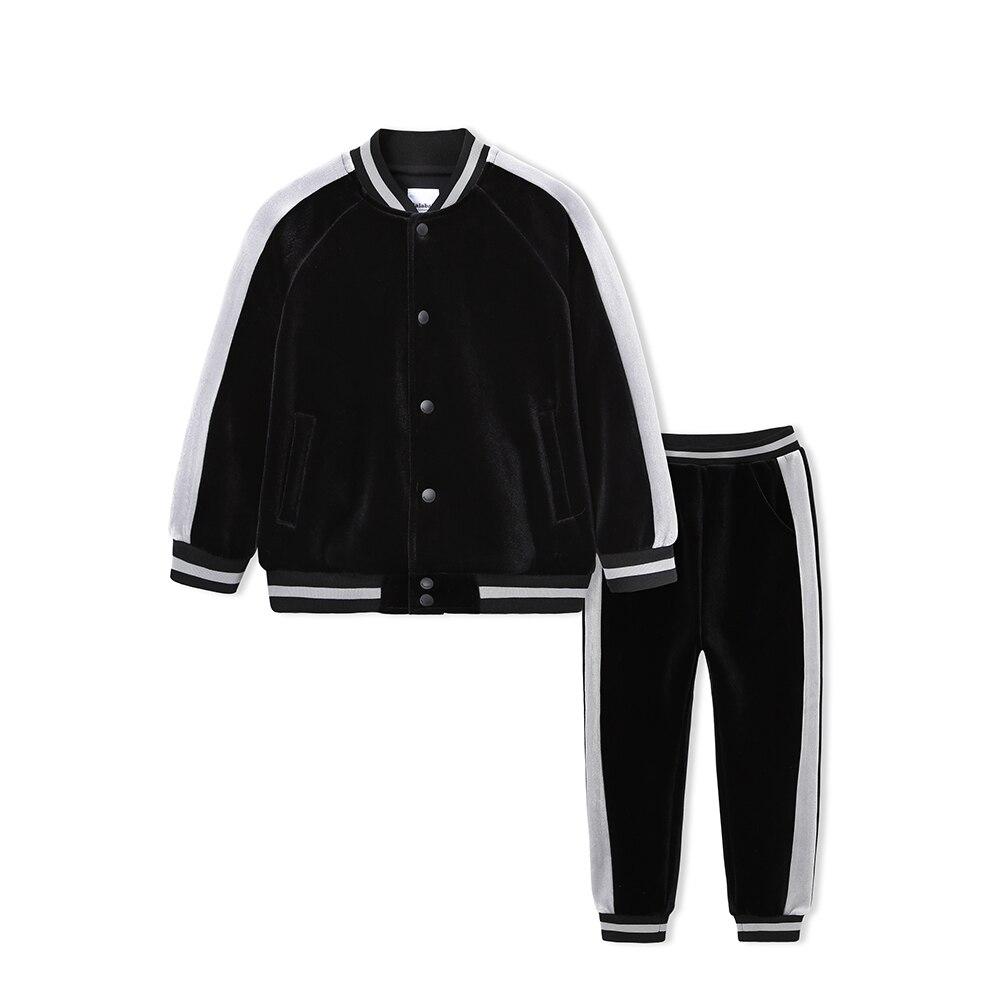 dee6173bc9 US $26.62 64% OFF|Balabala Toddler Boy Velvet Side Stripe sleeved Baseball  Jacket + Side striped Sweatpants Set Children Kid Clothes Set Autumn-in ...