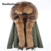 Winter Coat Women 2017 New Army Green Camouflage Parkas With Big Large Real Raccoon Fur Collar