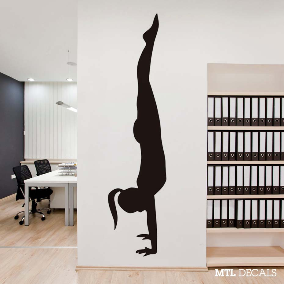 handstand wall indian yoga removable yogo pose decal sticker vinyl modern