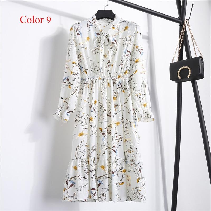 Chiffon High Elastic Waist Party Dress Bow A-line Women Full Sleeve Flower Print Floral Bohemian Dress Female Vestido Plus Size 18