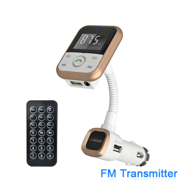 Mobile Phone Car Charger with Handsfree Bluetooth Car Kit FM Transmitter Car MP3 Audio Player and Bluetooth CSRV4.0 SD Card 2.1A