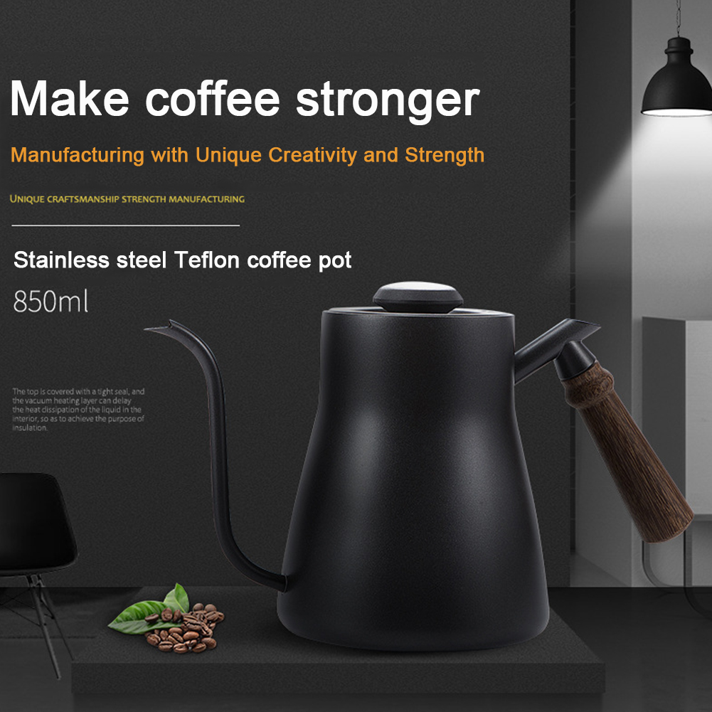 Office Cafe Home Coffee Pot Stainless Steel Wood Handle Easy Clean Safe Gooseneck Practical With Thermometer Tea Drip Over