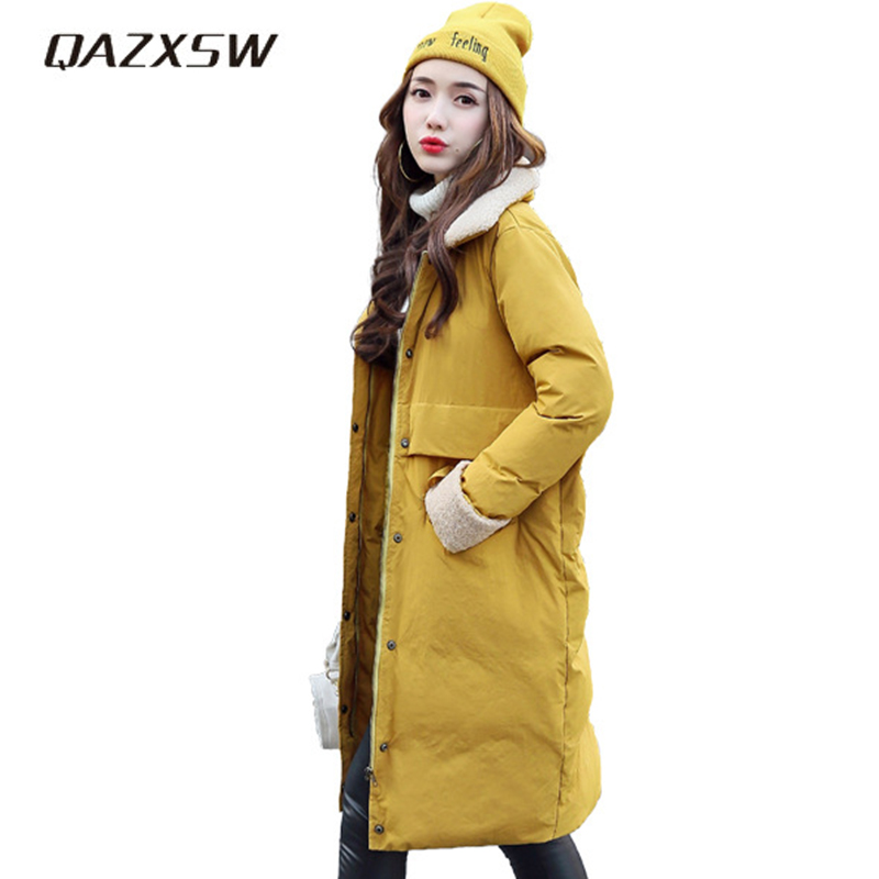 QAZXSW 2017 Winter Cotton Coat Women Slim Winter Jacket Turn Down Collar Lamb Parkas Long Sleeve Thick Warm Outerwear Coat HB377 qazxsw 2017 new winter cotton coat women long parkas thick velvet double breasted lamb winter jacket women suede jackets hb321