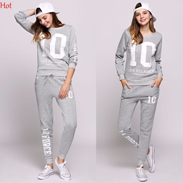 Spring Women 2Pcs Sets Hoodies Number Letters Printed Sweatshirt Sweat Pants Trousers Clothing Sets Fashion Casual Outwear Suit 2