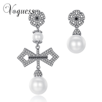 VOGUESS 2017 Luxury Zirconia Crystal Paved Big Cross Earrings White Gold Plated Simulated Pearl Earrings For