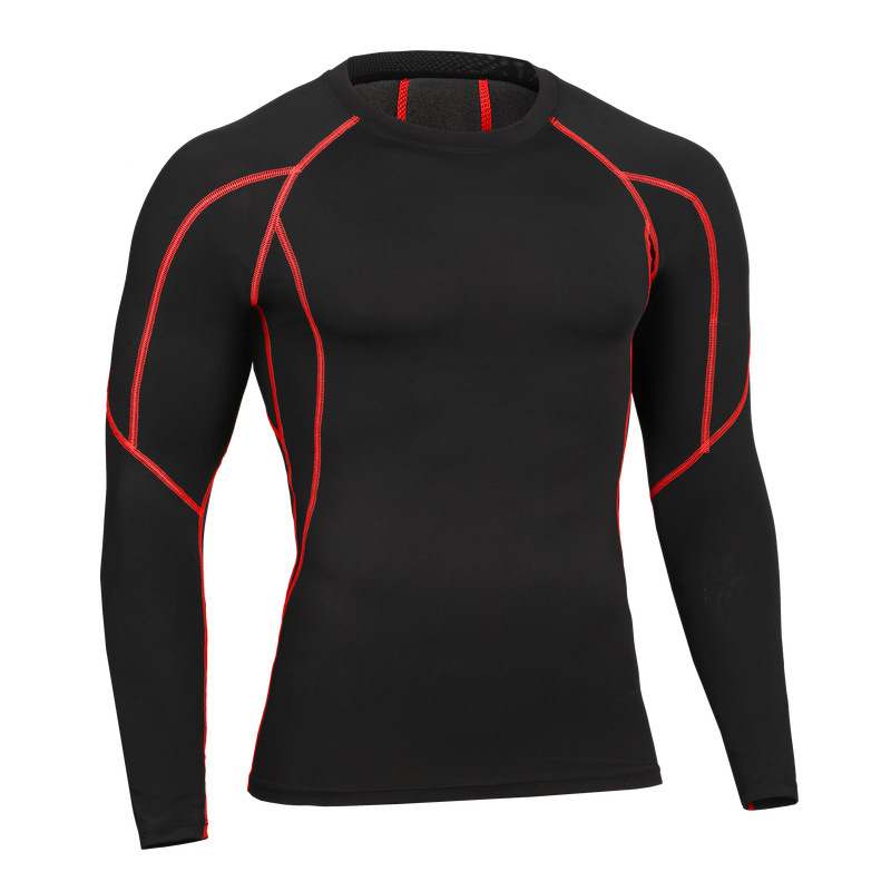 Men Compression T Shirt Fitness Bodybuilding Tops Tees For Muscle Male Long Sleeve Quick Dry Base Shirt Patchwork line Clothes