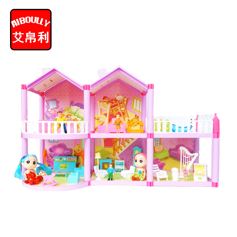 AIBOULLY Family Doll House Dolls Accessories Toy With Miniature Furniture Garage DIY Doll House Toys For Girls Birthday Gifts