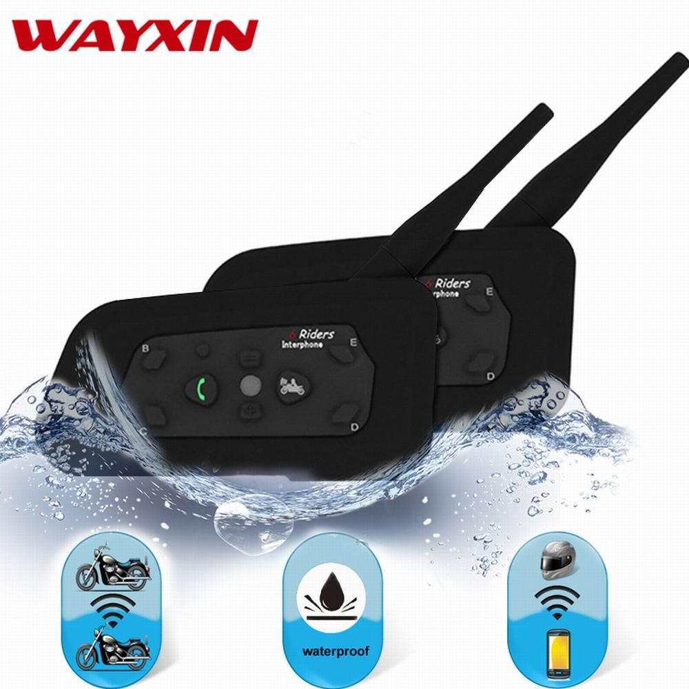 2018 Wayxin Interphone Casque Casques R6 Bluetooth Interphone Pour Moto 1200 m Bluetooth Interphone Moto Intercom Moto 2 pcs