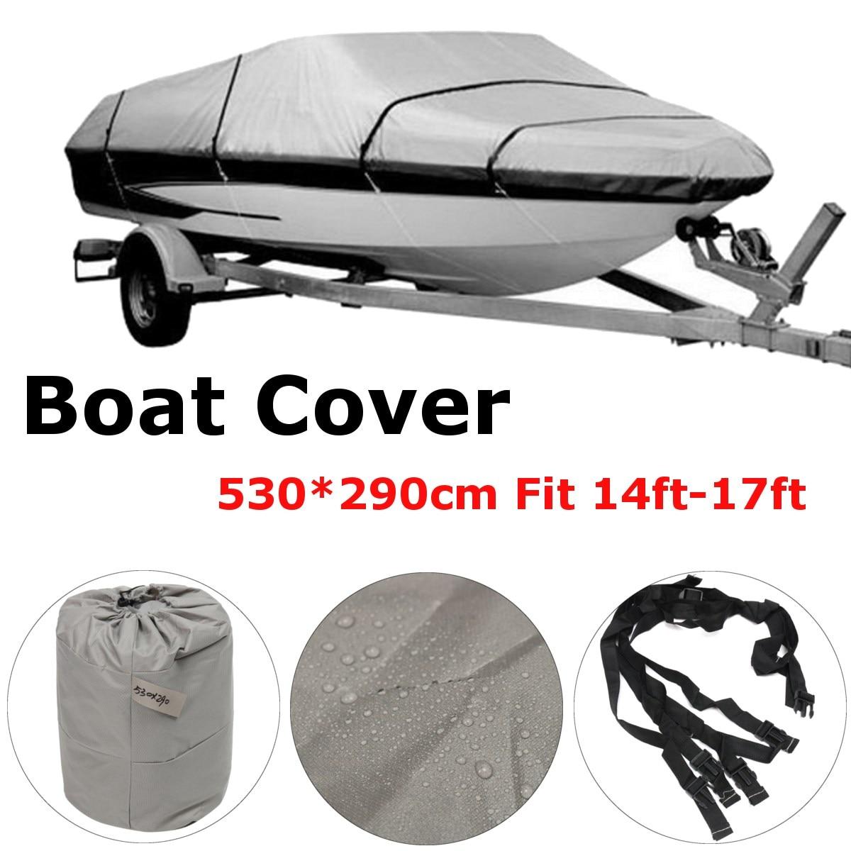 600D 14-17Ft Waterproof Heavy Duty Fabric Trailerable V shape Boat Cover Gray