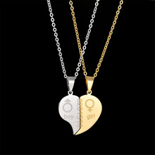 Fashion Jewelry Stainless Steel Boy and Girl Letter Pendant Necklace Couple Heart Necklace Different Chain Valentine's Day Gift