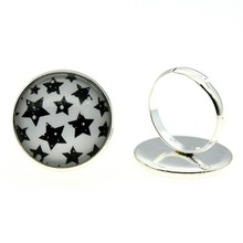 Adjustable Rings Stars 20mm Round Glass Cabochon Handmade For Women 2 Colors Vintage Jewelry