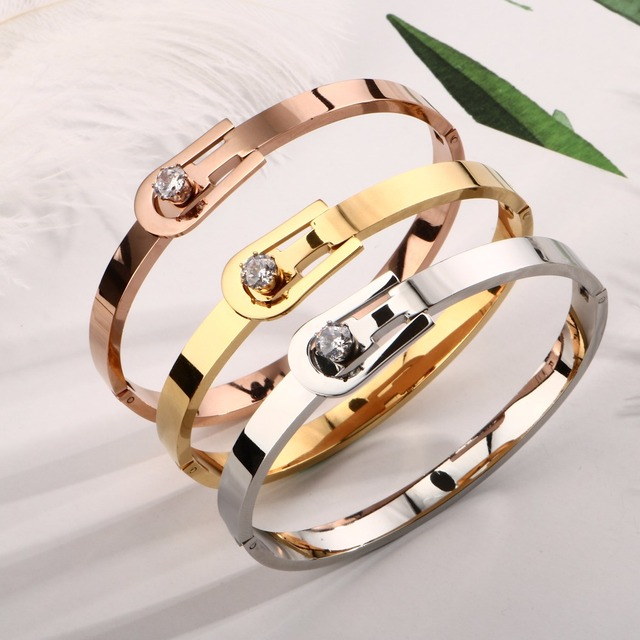 Luxury Crystal Belt Bracelets & Bangles Fashion Woman Stainless Steel Cuff Bangle Lady Wedding Party Luxury Brand Jewelry Gift