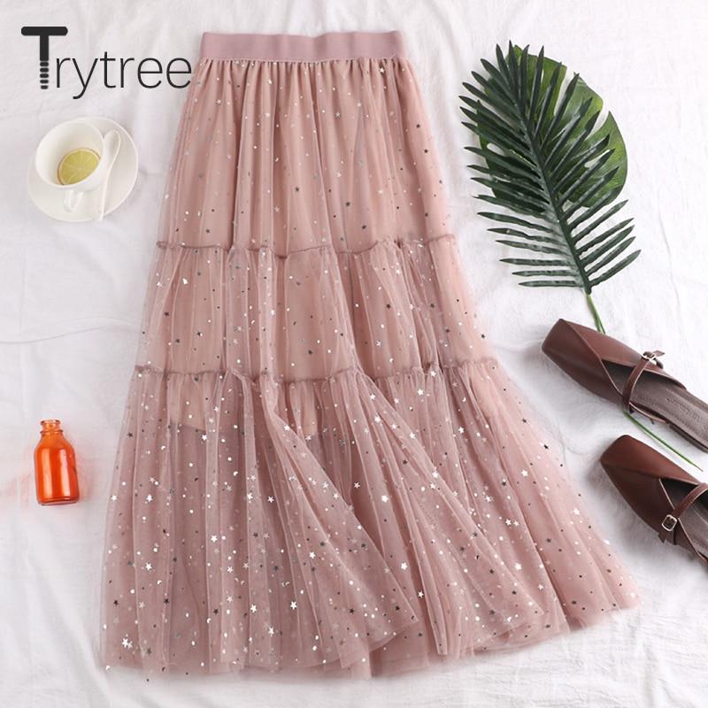 Trytree Summer Autumn Romantic A-line Double Layer Mesh Women Skirt Patchwork Star Sequined Mid-Calf Ruffles Skirt Female Skirts