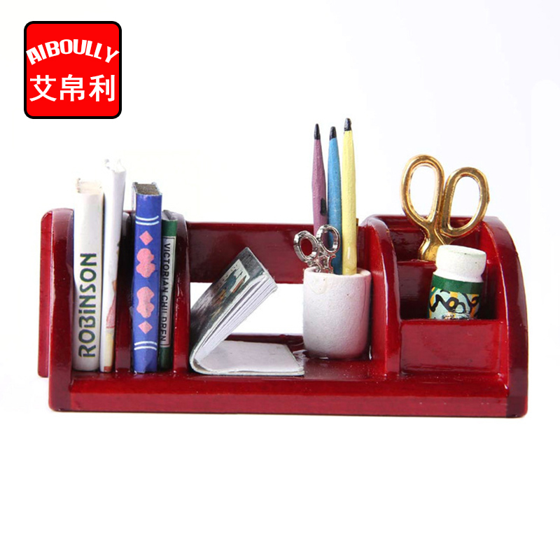 Cute 1:12 Dollhouse Miniature Furniture Book Shelf Study Room Table Organizer Rack DIY D ...