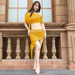 Image 4 - 2019 yeni profesyonel tasarım yetişkin takım uygulama dans giyim 2 parça seksi oryantal dans rahat kostüm örgü giyim