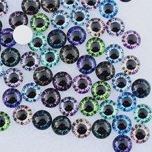 6mm aleatório misturados dragão olhos redondo cabochão de vidro flatback foto cabochons para charme base acessórios por par 50 pçs/lote k06123