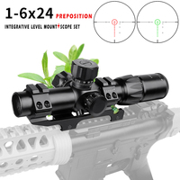New hot 1 6x24 Hunting Compact Riflescope Tactical Optical Sights Red and Green Illuminated Rifle Scope for airsoft airgun
