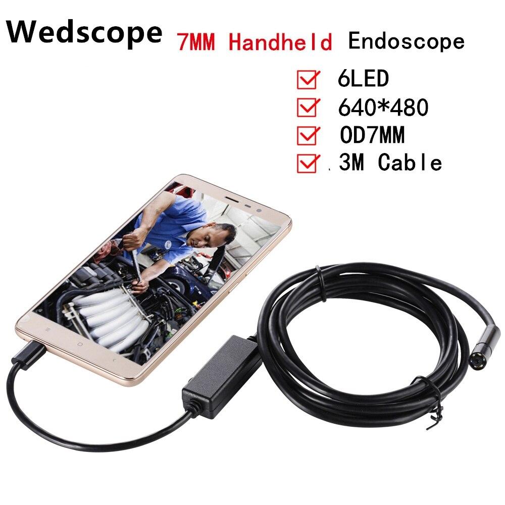 7 ММ 3 М USB Эндоскоп Эндоскоп 6 СВЕТОДИОДНЫХ IP67 Водонепроницаемая Камера Andorid Мини Камера Android Телефон Камера-Эндоскоп