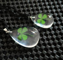 FREE SHIPPING 10 pcs Real Shamrock Four Leaf Clover Mix Necklace Lucid Drop Shape Girl Lady Gift Boy St. Patrick's Day Present(China)