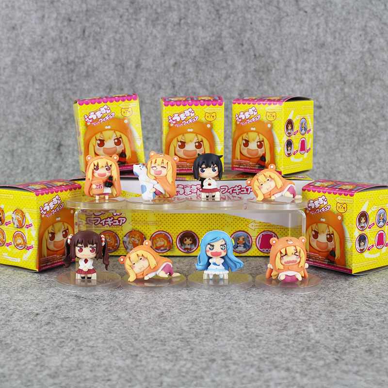 Color bxoed 8pcs/lot Anime Small buried Sankaku Head Himouto! Umaru-chan Umaru Doma PVC Figure Doll toy ...