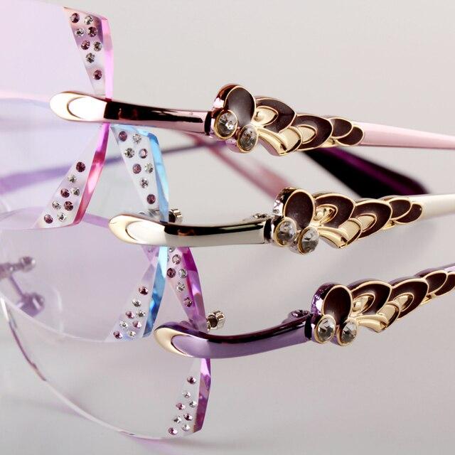 Женские модели алмазные очки для чтения без оправы очки пользовательских рецепта сверхлегкий готовых очковых линз 136